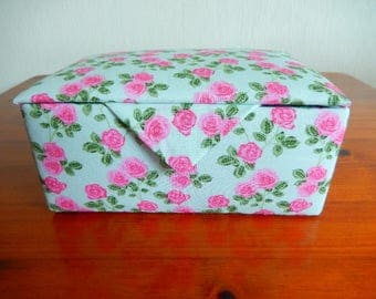 Fabric covered box,  trinket box, jewellery box, dressing table box
