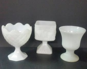 Buyer's choice of milk glass pedestal vases or planters. 3 to choose from.
