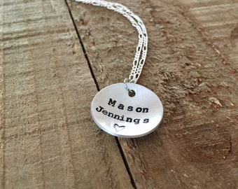 "Mason Jennings-7/8"" handstamped necklace-gift"