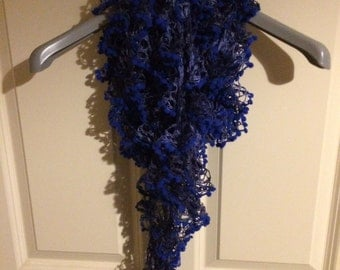 hand knitted lace pom pom spiral wool yarn long scarf
