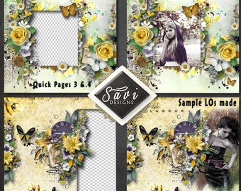 Digital Scrapbooking QUICK PAGES 3 & 4 created using TIMe  and TREASURE Kit premade Page to make immediate scrap page