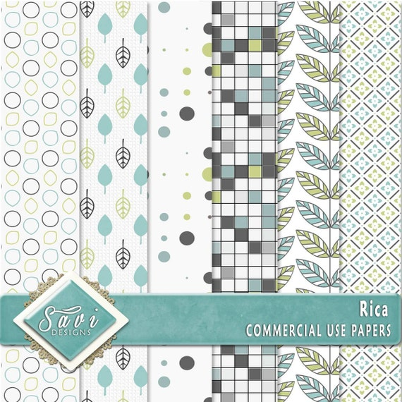 CU Commercial Use Background Papers set of 6 for Digital Scrapbooking or Craft projects RICA Papers, Designer Stock Papers