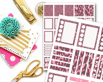 Pink Leopard Planner Stickers, Printable Planner Sticker, Printable Planner Sticker, Planner Stickers Printable, Scrapbooking MPS12
