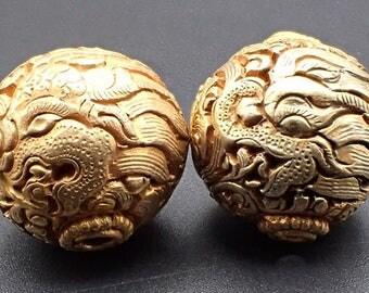 Lot 2 DETAILED Gold Plate Dragon Islamic Ivy Paisley Design Bead Nepal #5259