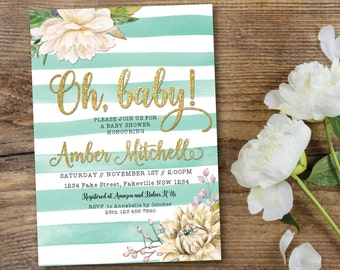 Mint and white baby shower invitation, mint and gold baby shower invitation, mint, gold, white, glitter, floral, peony, dahlia (Amber)