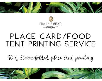 Place card professional printing for any Frankie Bear Designs place card, matching place card, tent card printing, food card printing
