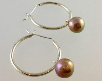 Hoop earrings /Ripple pearl hoop earrings /pearl earrings /hoops/dangle/drop/pearl/pearl dangle/ Edison pearl/ripple pearl/large hoops