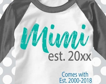 Mimi Established svg, Mimi svg, Mothers day svg, Grandma SVG, DXF, EPS, mom svg, Family svg, grandma names available by request, cut file