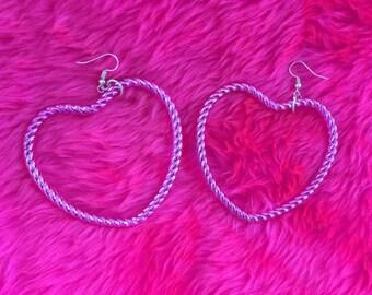 Metallic purple pink heart earrings