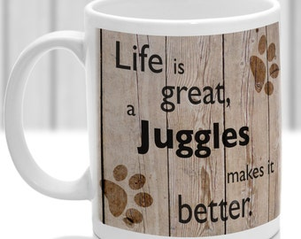Juggles dog mug, Juggles dog gift, dog breed mug, ideal present for dog lover