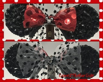 Mickey Mouse Minnie Mouse Polka Dot  Disney Inspired Rhinestone Bedazzled Bling Disney Rhinestone Minnie Mickey Mouse Ears