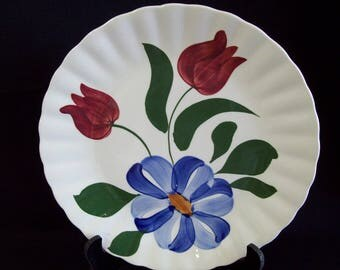 Vintage Blue Ridge Southern Pottery - Flower and Tulips - Dinner Plate
