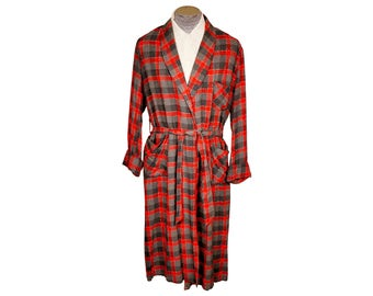 Vintage 1950s Wool Challis Dressing Gown by Tulipe Checked Lounging Robe Mens Size Large