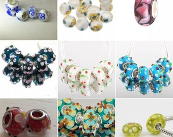 Lot 925 Silver Pandora glass murrine and 9 compatible