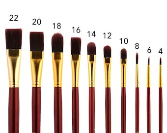 Long Handle Paint Brush Set Professional Artist Grade 10 Oil and Acrylic Brushes Round Flat and Filbert Tip with Roll Up canvas Holder