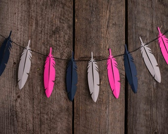 Feather Paper Garland - Boho Feather Garland, Feather Decor, Bohemian Decor, Feather Bunting, Party Decor