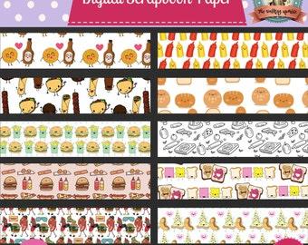 Food Themed Digital Scrapbook Paper-Instant Download! PB&J,Burger and Fries,Pizza,Hot Dog,Ketchup and Mustard,Gyro,Waffles,Kawaii,Run DMC