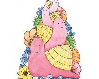 Snail Pyramid - A cute snail family Giclée Archival Print