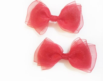 Sweet pea>> red sheer hair bow for babies/toddlers/kids