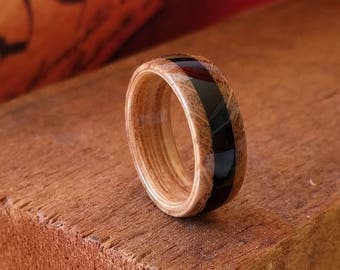 Whiskey barrel Wood Ring with Ebony Inlay - Reclaimed Wood Wooden Wedding Ring Wooden Rings for Men  Woman's ring Engagement Ring