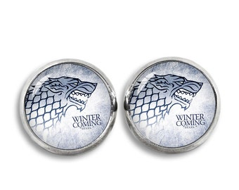Game of Thrones Stud Earrings Stark Wolf Earrings Winter is Coming Fandom Jewelry, Cosplay, Fangirl, Fanboy