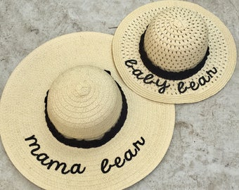 Floppy beach hat set embroidered - mama bear - baby bear - set of two paper straw hats - mom and daughter - mommy and me - matching set
