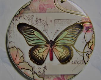 Pocket Mirror with Travel Butterfly Graphic