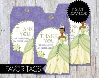 Princess and the Frog Birthday Party PRINTABLE Favor Tags- Instant Download | Disney Tiana | Princess Tiana