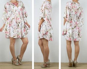Ladies Kaftan dress, short beach boho dress tunic in soft flowy floral rayon size 6 8 10 12 14 16