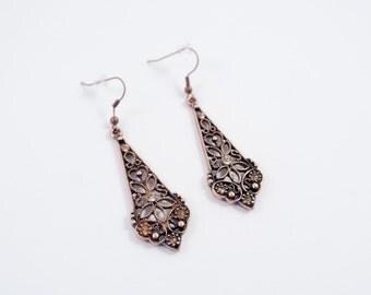 Bronze Victorian Style Dangle Earrings