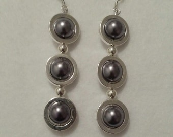 Silver and Grey Earrings