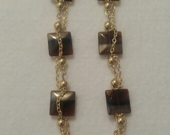 Gold and Brown Long Earrings