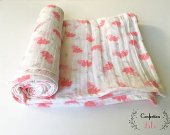 Chiffon baby pink elephants patterned blanket