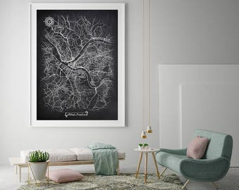 PITTSBURGH Pennsylvania Chalkboard Map Art Black And White Pittsburgh PA  Vintage City Map Graphic Detailed Scheme