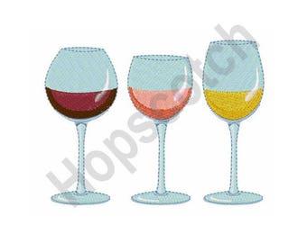 Wine Glasses-Machine Embroidery Design