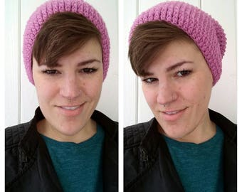 Dusty Rose Slouchy Hat - Knitted Hat - Slouch Hat