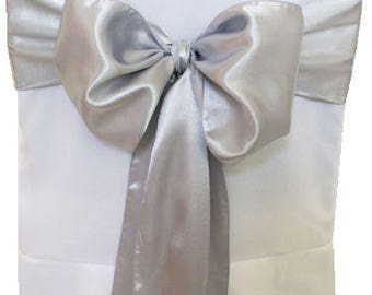 """7""""X108"""" Silver Satin Sashes Chair Cover Bow Sash WIDER FULLER BOWS Wedding Party"""