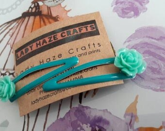 X2 flower hair clips light blue vintage style slides
