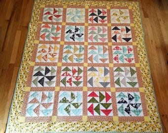 Dutchman's Puzzle Lap Quilt/Yellow Lap Quilt/Spring Colors Lap Quilt/Affordable Lap Quilt/Handmade Quilt/Accent Throw Quilt