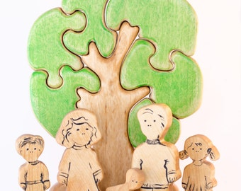 Wooden people - wooden family set for sand therapy. Girl, boy, man, woman, baby and  Tree Puzzle, Waldorf Toy