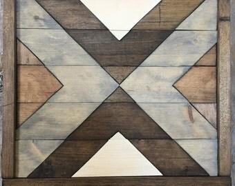 Reclaimed Wood Art - Wood Art - Wall Art - Mosaic Wall Art - Geometric Wall Decor - Rustic Decor - Farmhouse Decor - Wood Wall Art