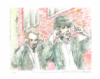"""Its Always Sunny in Philadelphia limited edition hand colored Etching, S2E3 """"Dennis and Dee Go on Welfare"""" Charlie Day, Rob McElhenney TV"""