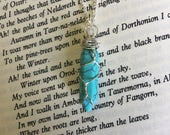 Turquoise Bullet Necklace, Crystal Bullet, Crystal Jewelry, Crystal Necklace, Wire Wrapped Crystals, Turquoise Necklace