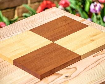 Serving Board - Maple and Mahogany Check