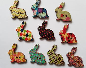 10 Gorgeous Rabbit Buttons - Wooden
