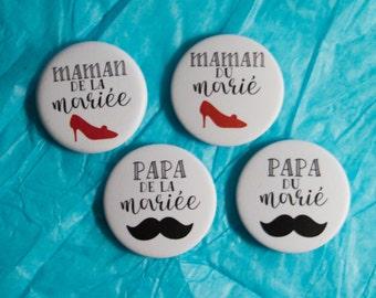 4 Badges mariage Parents des mariés