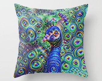 Peacock Pillowcase, Pillow Cover, Psychedelic Pillow, Peacock Pillow, Rainbow Pillow, Throw Pillow, Animal Pillow, Bird Pillow, Pillow Case