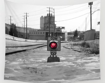Red Light Tapestry, Train Track Tapestry, Industrial Tapestry, Black and White, Photo Tapestry, Wall Hanging, Train Signal, Rail Yard, Decor