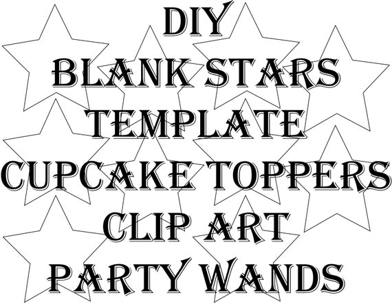 "SVG Blank Star Template Printable 4 Files 10 DIY 3"" Blank"