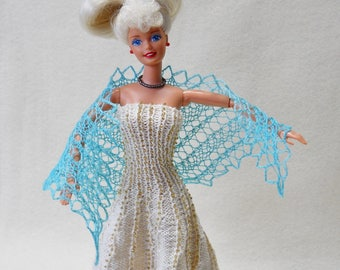 hand knit, hand dyed light blue lacy shawl for barbie fashion doll